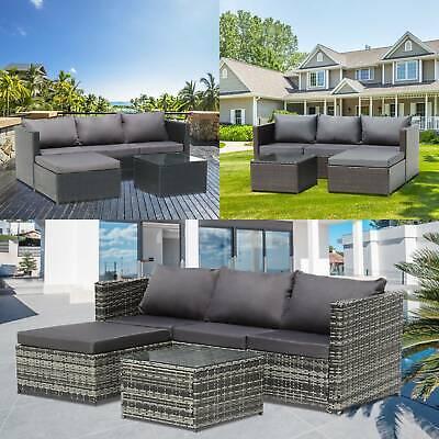 Garden Furniture - Rattan Garden Furniture 4 Seater Corner Sofa Wide Table Lounge Outdoor Patio Set