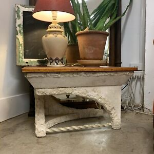 Unique Faux Stone & Timber Top Side Table