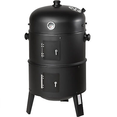 3in1 BBQ Holzkohlegrill Barbecue Räuchertonne Räuchergrill Grilltonne Smoker