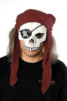 EN~HALBMASKE+HAARE+BANDANA MASKE TOTENKOPF KOSTÜM Halloween (Skelett Bandana Halloween)