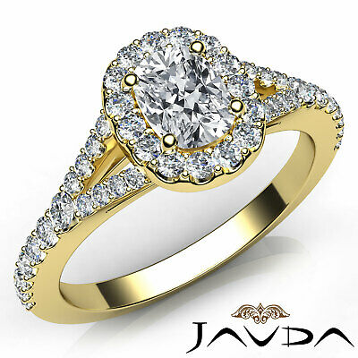 Halo U Pave Set Cushion Diamond Engagement Gold Ring GIA G Color VS1 Clarity 1Ct
