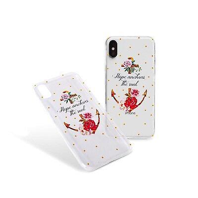 Handyhülle iPhone 6,7,8,9,X,7/8+ Schutz Case Anker Blume Hope Punkte