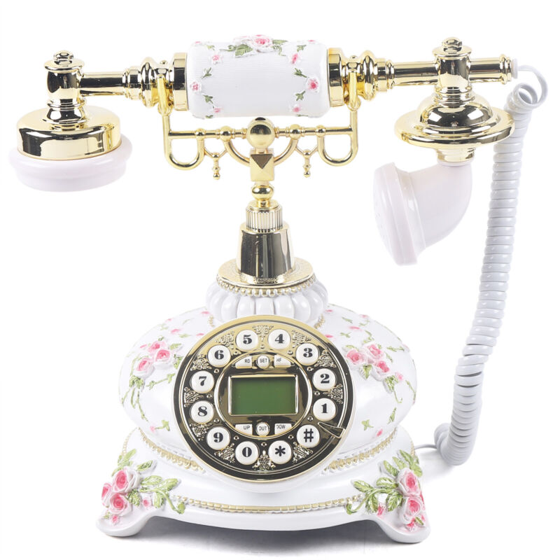 Old-Fashioned Landline Telephone Luxury European Wired Telephone Home Decorative