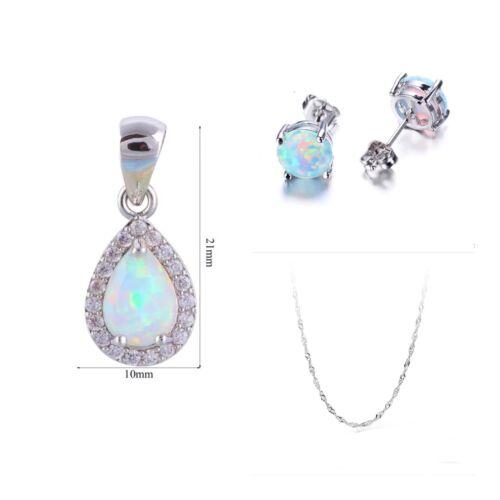 White Fire Opal CZ Teardrop 925 Silver Pendant Necklace & Earrings Set N22E9 Fashion Jewelry