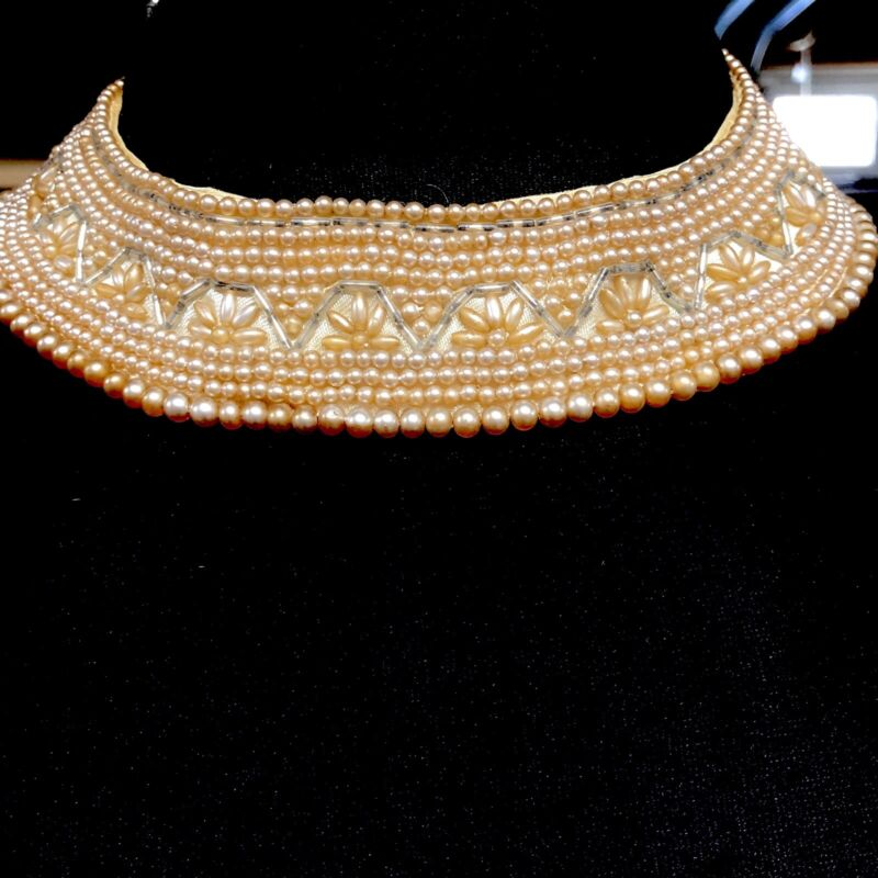 Vtg 1950s Seed Bead Statement Beaded Collar Necklace Silk Lined Japan