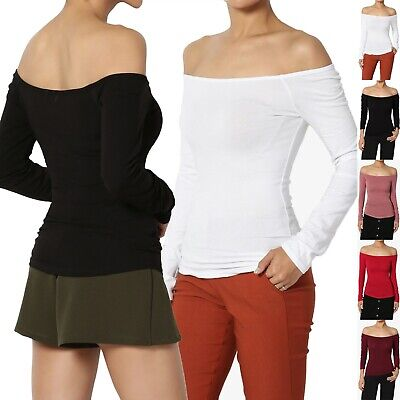 TheMogan Off The Shoulder Stretch Cotton Jersey Top Long Sleeve Sexy T-Shirt (Sleeve Cotton Top Shirt)