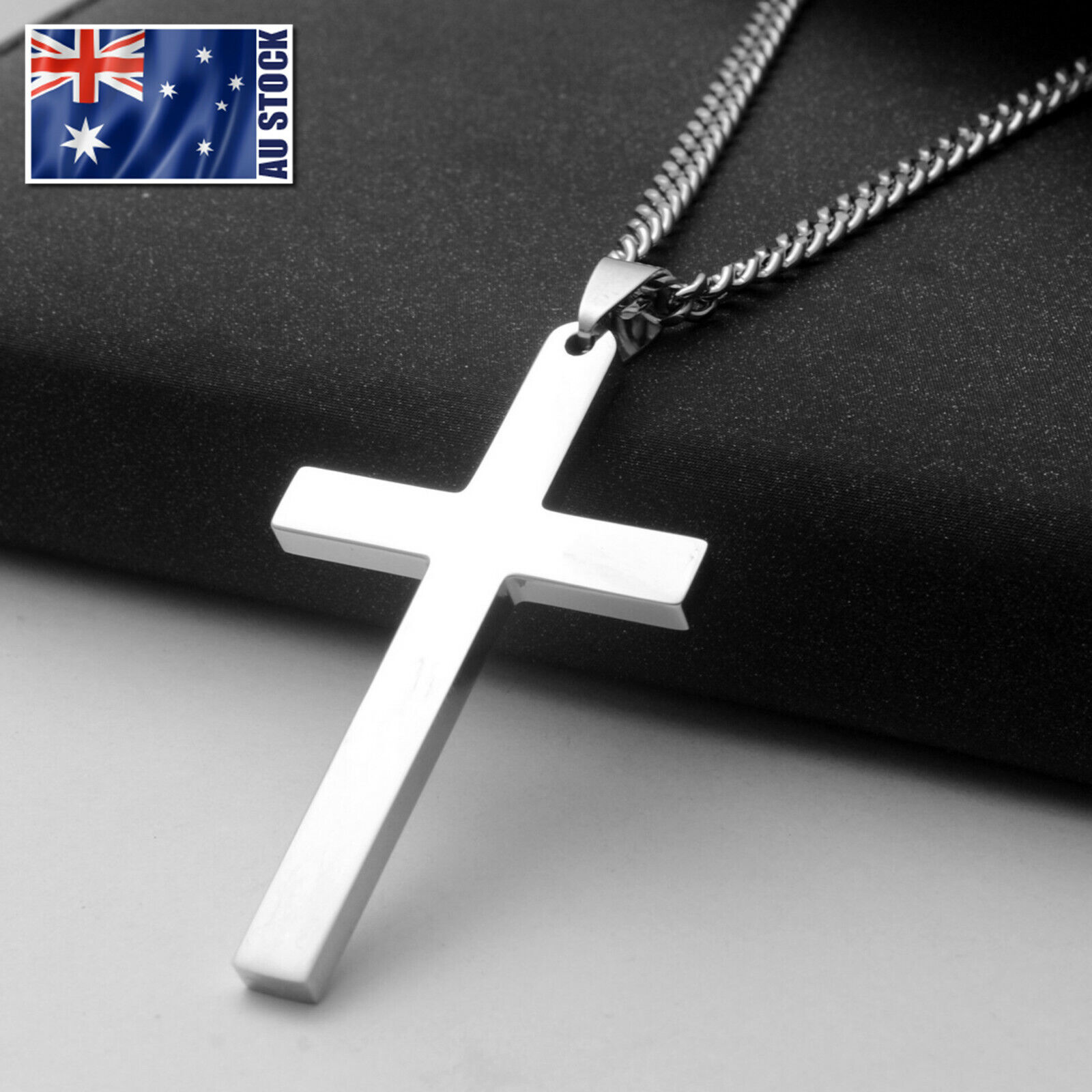 Jewellery - Stainless Steel Plain Silver Jesus Cross Crucifix Pendant Necklace Mens & Womens