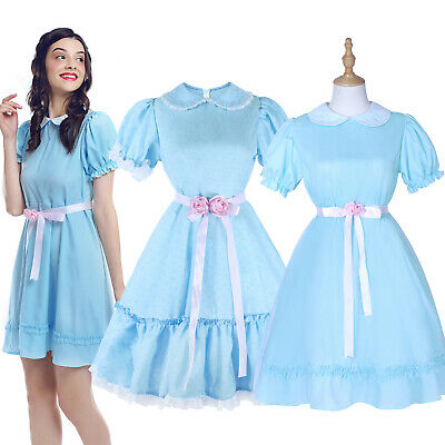 The Shining Grady Twins Lisa and Louis Blue Lolita Dress Adult Kid Party Costume - Grady Twins Costume