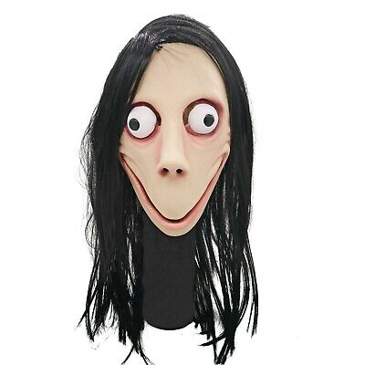 Scary Momo Costume Mask with Long Hair Halloween Cosplay Costume Party Props](Halloween Costumes With Mask)