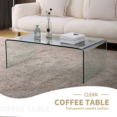 Contemporary Design Rectanglar Glass Coffee Table Transparent Living Room Furniture