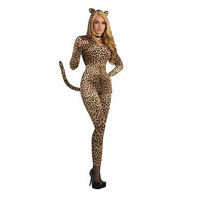 Sly Leopard Sexy Catsuit Jumpsuit Animal Adult Ladies Fancy Dress Costume - Leopard Dress Costume