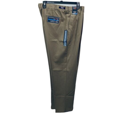 Roundtree & Yorke Travel Smart Twill Pleated Pants 46×34 Brown Easy Care Clothing, Shoes & Accessories