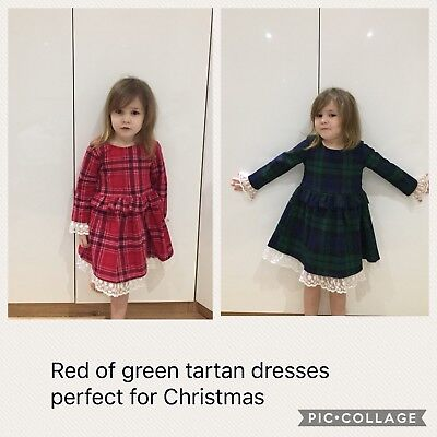 Girls Tartan Dresses Available In Green And Navy Or Red Ideal For The Christmas