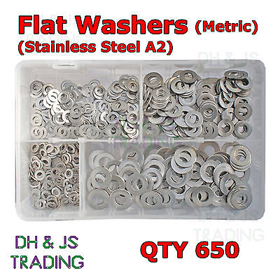 Assorted Box of Stainless Steel Flat Washers - M5 M6 M8 M10 Form B BZP Qty 650