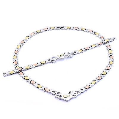 Stainless Steel 3 Tone I Love You Hugs   Kisses Set Xo Necklace   Bracelet 20