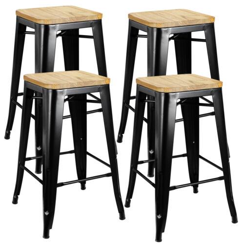 Set of 4 Metal Counter Bar Stools Pub Industrial 26″ Height w/ Wood Seat 330LB Benches, Stools & Bar Stools