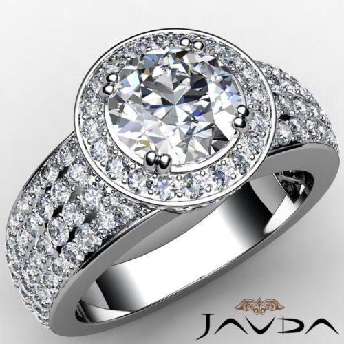 2.53ct Round Diamond 4 Row Halo Pave Set Engagement Ring GIA F VVS2 Platinum