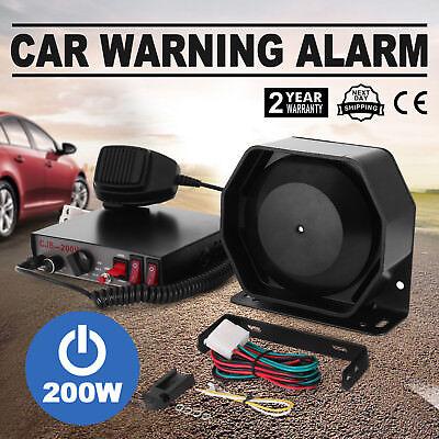 200W 8 Sound Loud Car Warning Alarm  Fire Siren Horn Speaker MIC CE