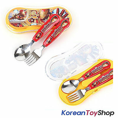 Marvel Iron Man 3 Character Stainless Steel Cute Spoon Fork Case Set, BPA Free