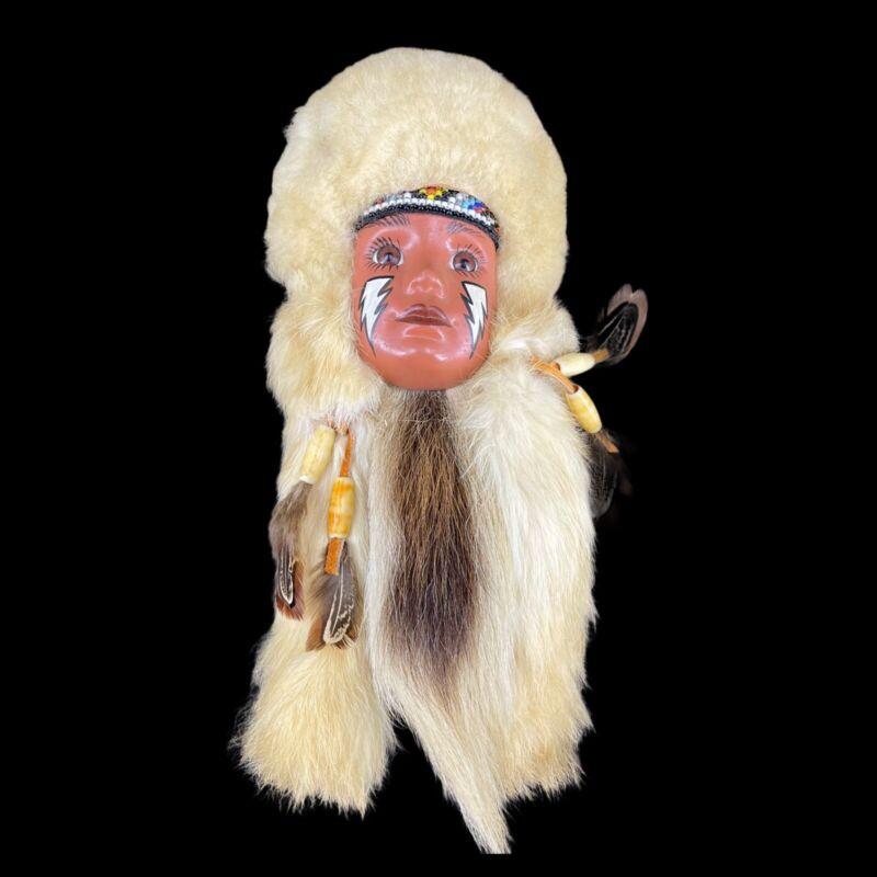 VTG Native American Spirit Mask Wall Hanging Face Feathered Fur Head Handmade