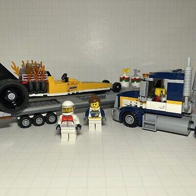 LEGO City Dragster Transporter 60151 Loose 95% Complete Race Car & Mini Figures