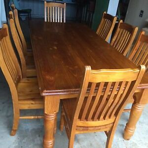 9 piece wooden dining table & chairs Bunglegumbie Dubbo Area Preview