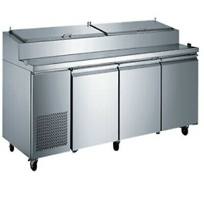 3 Three Door Pizza Prep Table 92 Wide Commercial Pizzeria Italian New On Sale