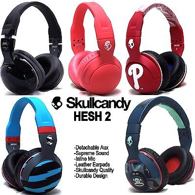 New Skullcandy Hesh 2 2 0 Stereo Headset Supreme Sound Mic Black White