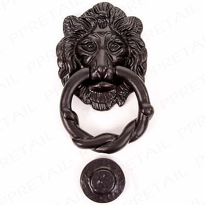LARGE 150mm BLACK ANTIQUE ~LION HEAD~ DOOR KNOCKER Quality Classic Ornate Plate