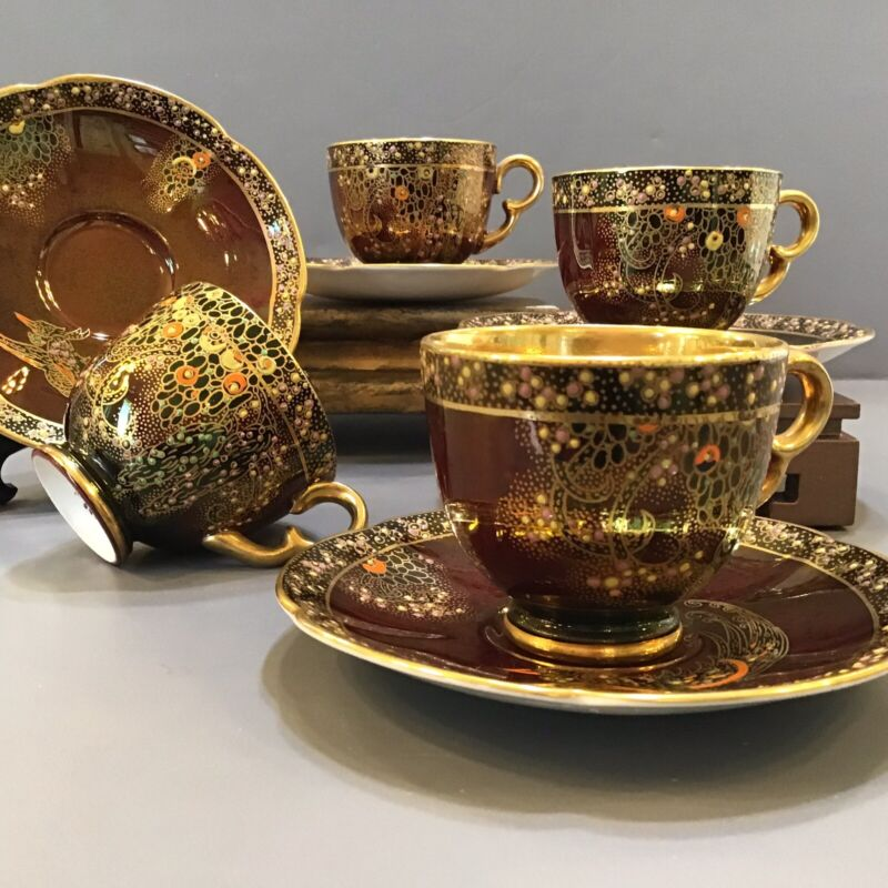 Crown Devon Red Rouge Lustre Ware Jeweled Peacock Cup & Saucer Deco Gilt Gold