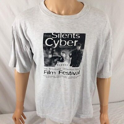 Vtg Brisbane International Film Festival T Shirt Large Short 90S Silent Biff