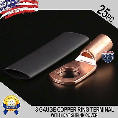 25 Pcs 8 Awg Ga Copper Ring Terminal Heat Shrink 38 Hole Stud Lug Connector Us