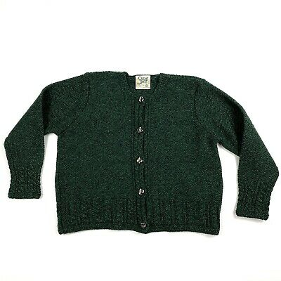 Carraig Donn Womens Medium VTG Green 100% Wool Button Cardigan Sweater Ireland