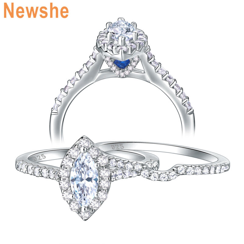 Newshe Wedding Rings For Women Engagement Ring Set Marquise Sterling Silver Cz