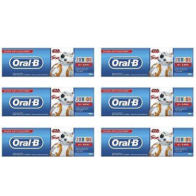 6pz ORAL-B JUNIOR Dentifricio al fluoro senza zucchero bambini STAR WARS 75ml