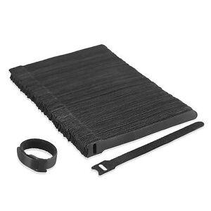 100pcs Velcro Reusable Black Cable Tie Velcro Hook Loop Strap Ties