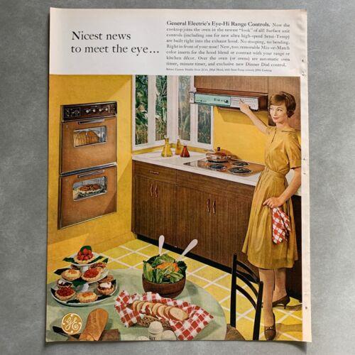 Vintage General Electric Eye-Hi Range Controls Oven Print Magazine Ad 1961
