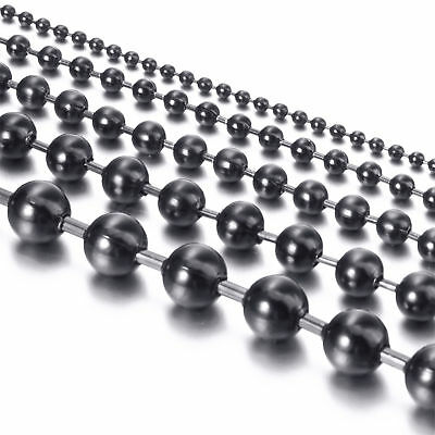2/3/4.5/6/8 MM Black Stainless Steel Round Ball Bead Chain Necklace
