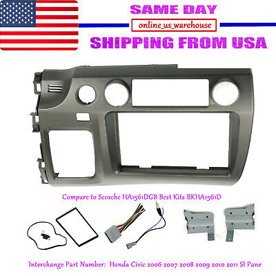 For Honda Civic 06-11 Taupe Radio Stereo Dash Kit w/ Wiring Harness Double 2 Din