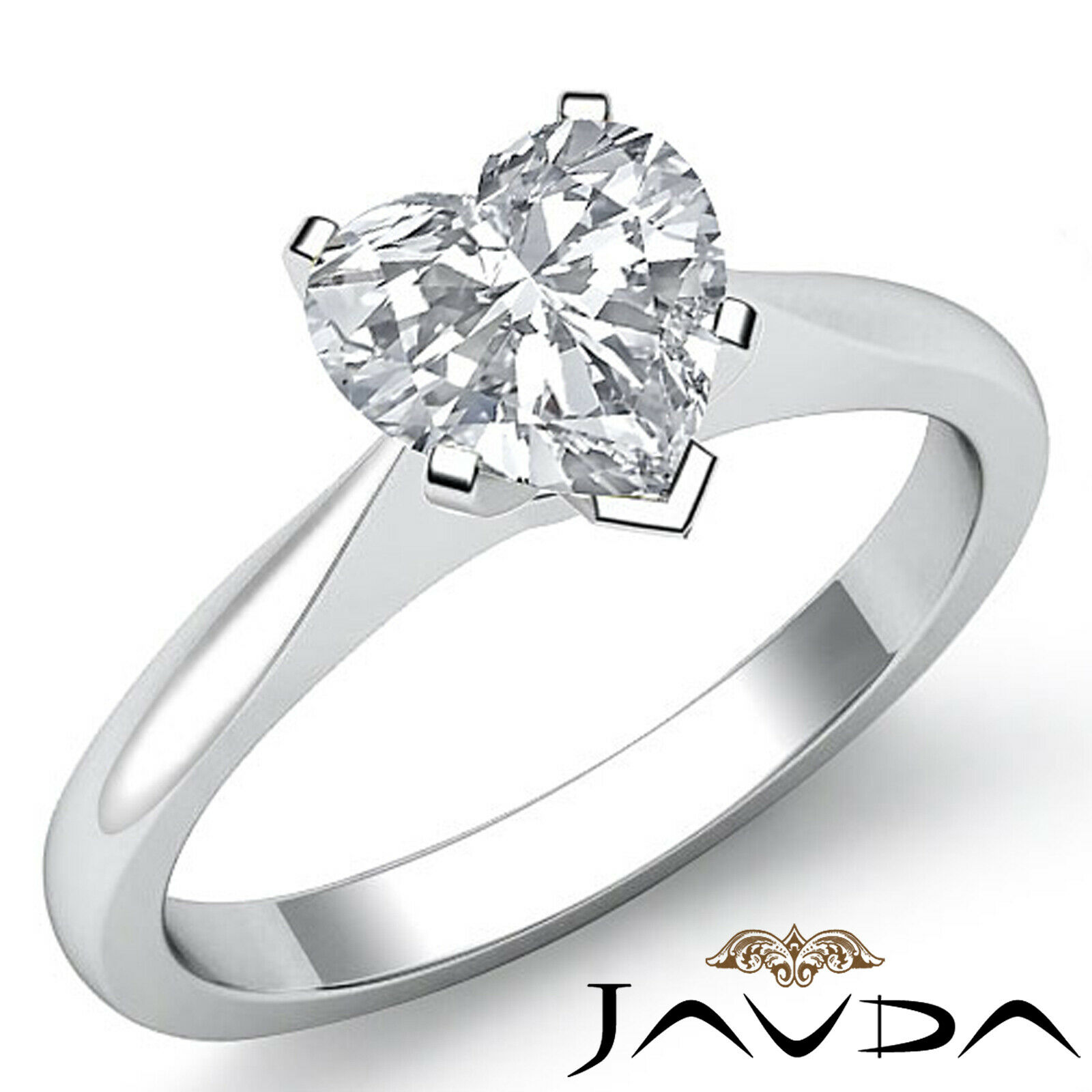 Heart Diamond Engagement 2mm Gold Ring GIA G VVS2 Tapper Solitaire 1.20 ct.