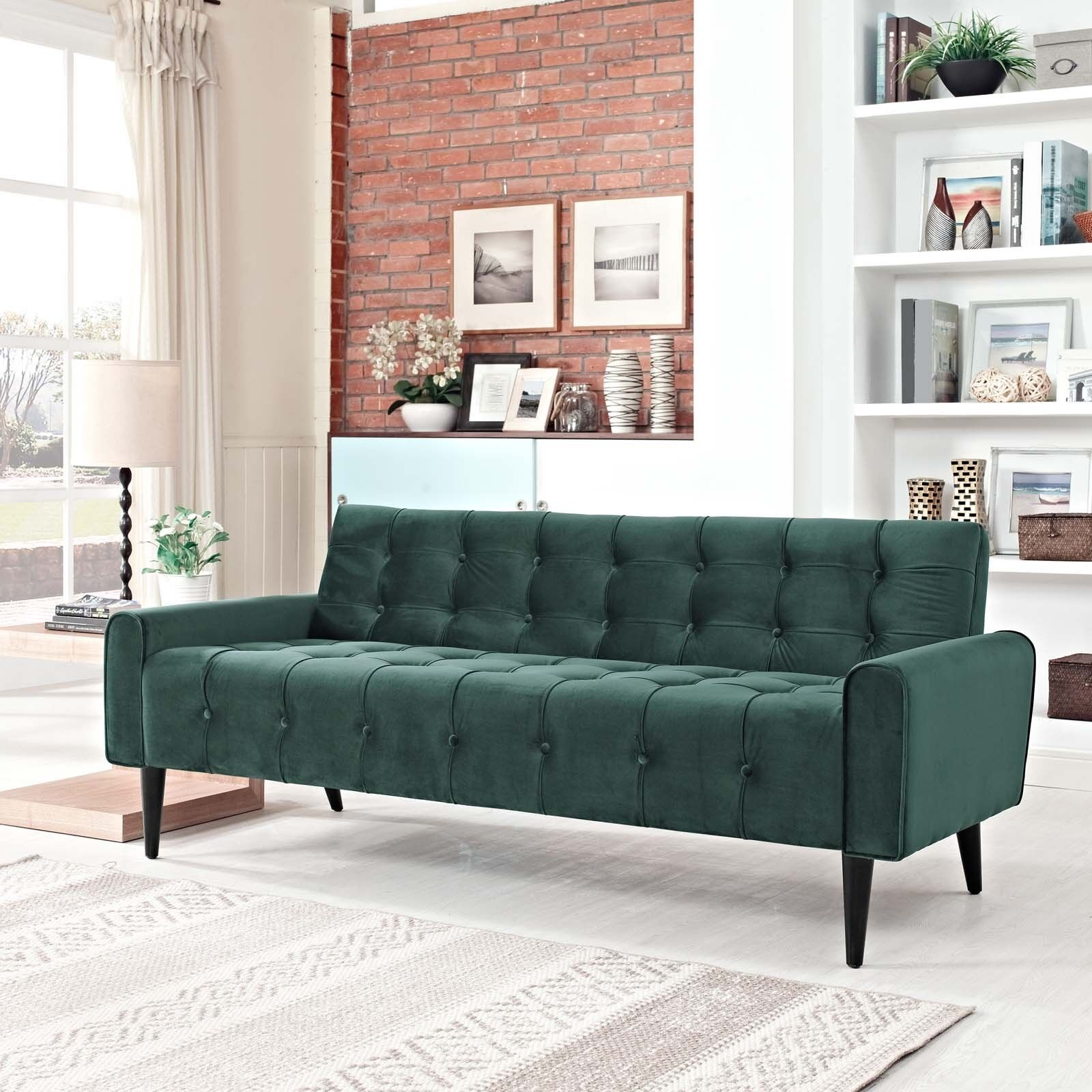 Modern Button Tufted Upholstered Velvet Living Room Sofa In Emerald Green Ebay