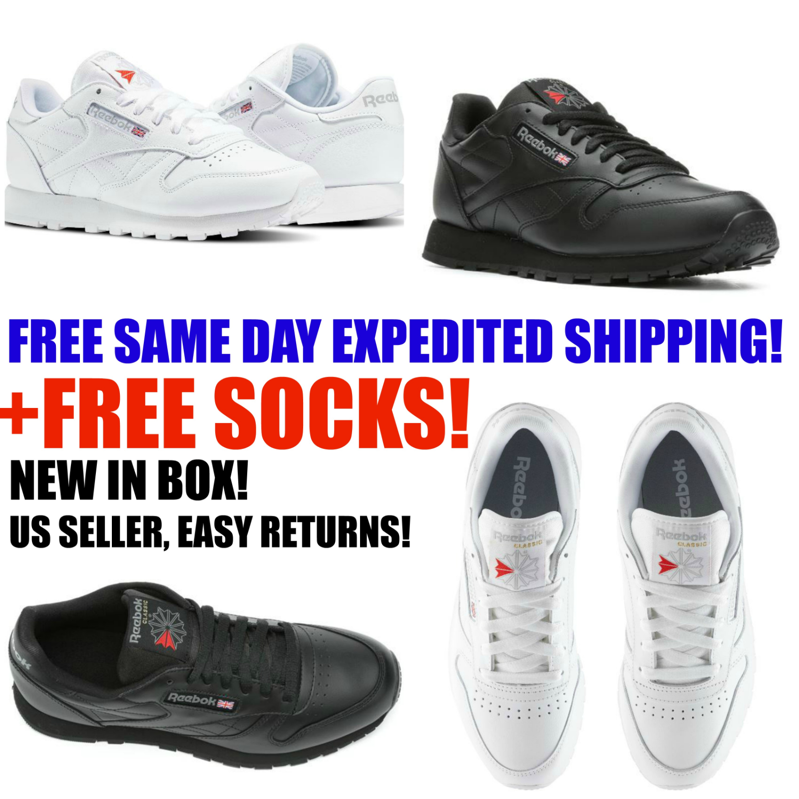 Mens Reebok Classic Leather CL Black White Men Tennis Sneakers 116 117 All Sizes