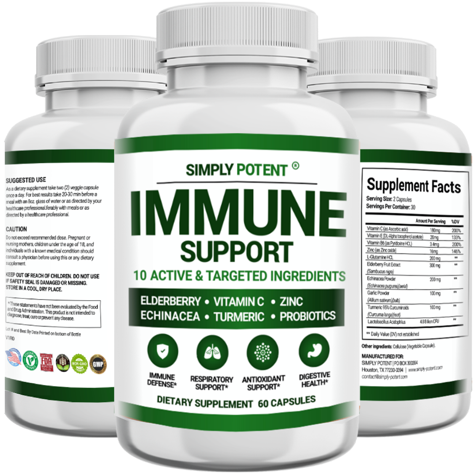 Immune Support & Immunity Booster w Elderberry Vitamin C Zinc Echinacea Turmeric 8