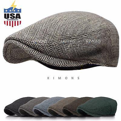 EM Herringbone Ivy Hat Wool Stripe Gatsby Cap Golf Driving Flat Cabbie -