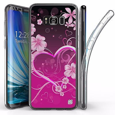 For Samsung Galaxy S8 Plus,Tri Max Transparent Full Body Case Cover HEARTS ROSIE