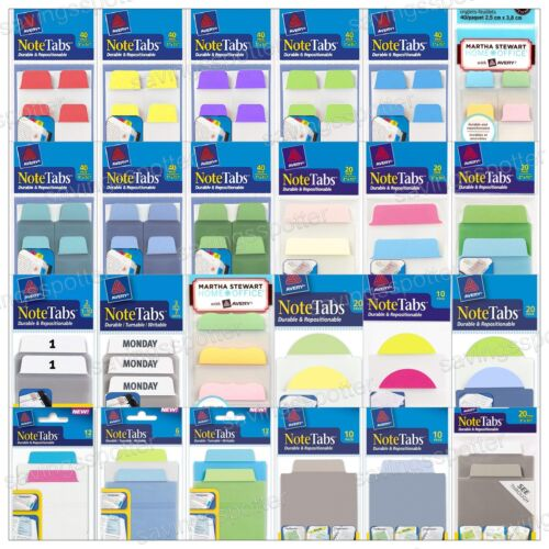 Avery NoteTabs Ultra Thick Note Tabs Durable Repositionable Assort Colors Sizes