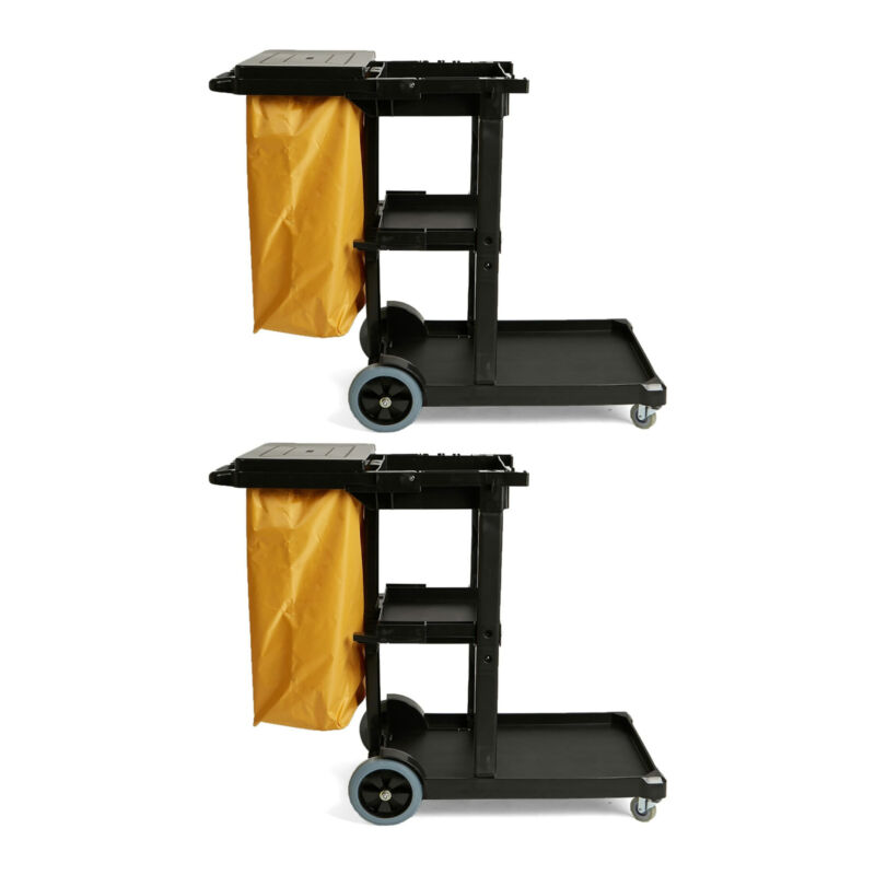 Mind Reader Commercial Janitorial Utility Cart with Yellow Vinyl Bag 2 Pack