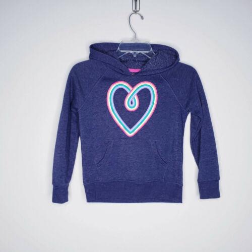 Cat & Jack Girls Sweatshirt Hoodie Heart Rainbow Fleece Lined Size M 7/8