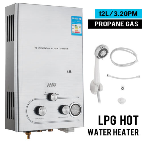 12L 3.2GPM Lpg Gas Propane Tankless Water Heater Instant Hot