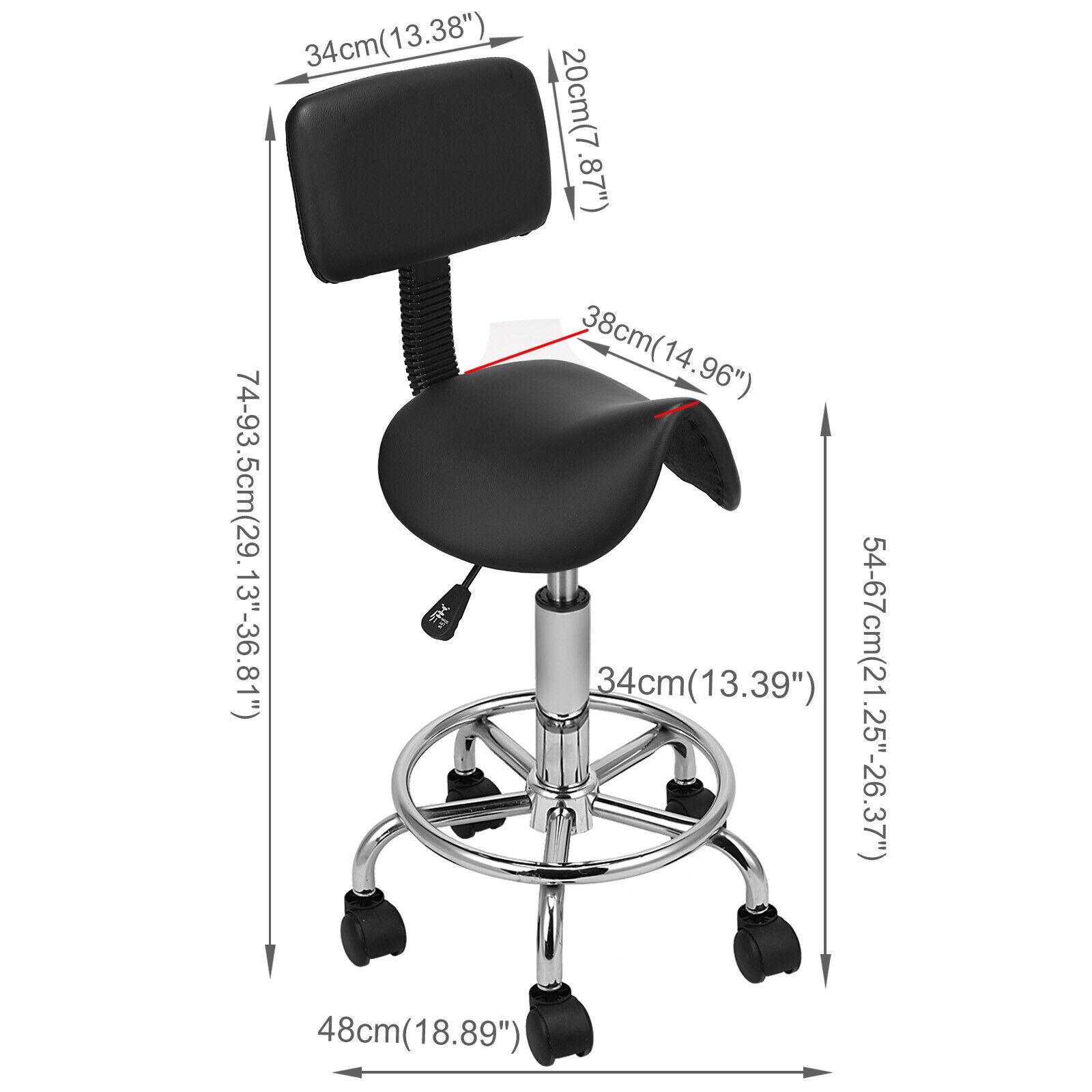 Rollhocker Arbeitshocker Drehstuhl Praxishocker Kosmetikhocker Arbeitsstuhl schwarze,sattel mit Rückenlehne